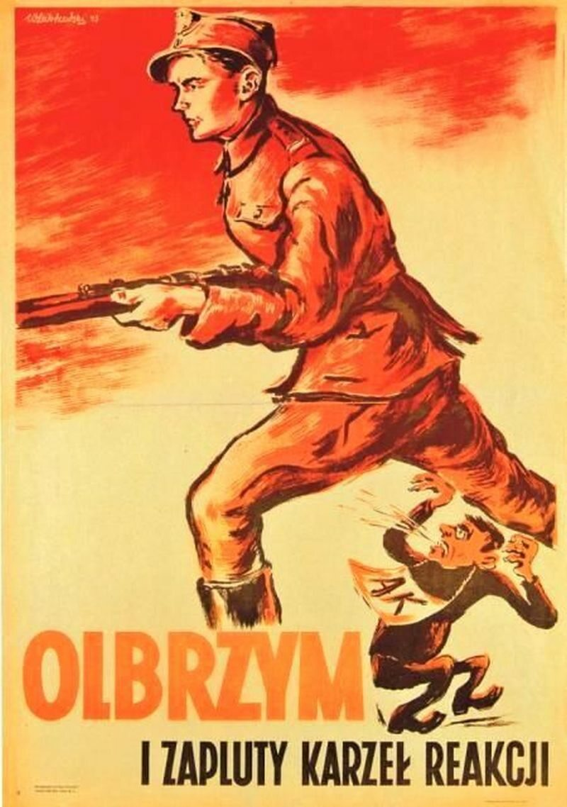 Olbrzym i zakuty karzeł reakcji Znów zabawa rozmiarami. Żołnierz tzw. Ludowego Wojska Polskiego i złośliwy, plujący karzełek mający symbolizować Armię Krajową.