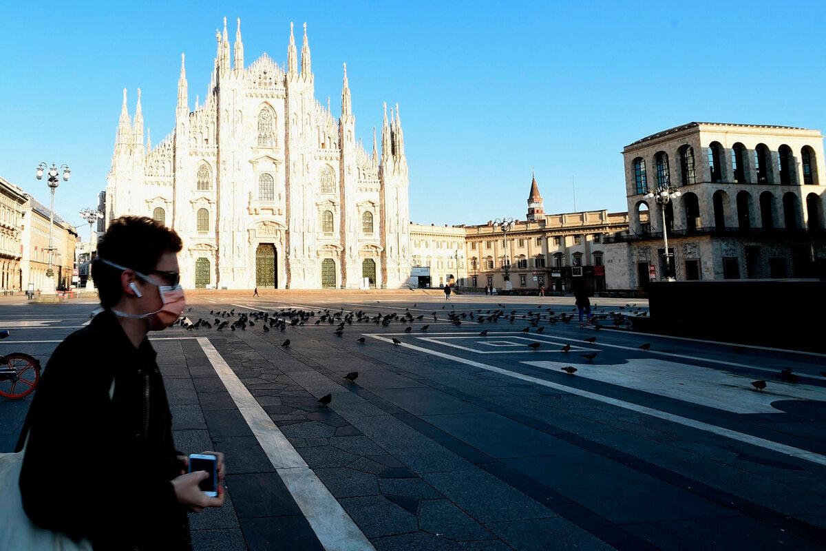 Pustki na ulicach Mediolanu (18 marca)