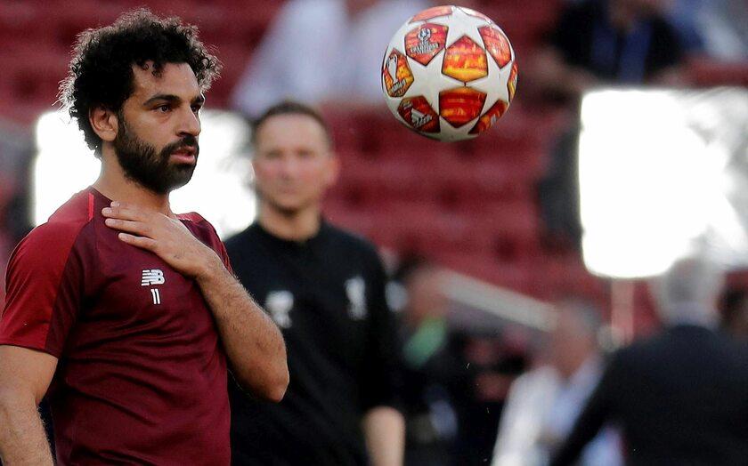 Mohamed Salah na treningu przed finałem Ligi Mistrzów