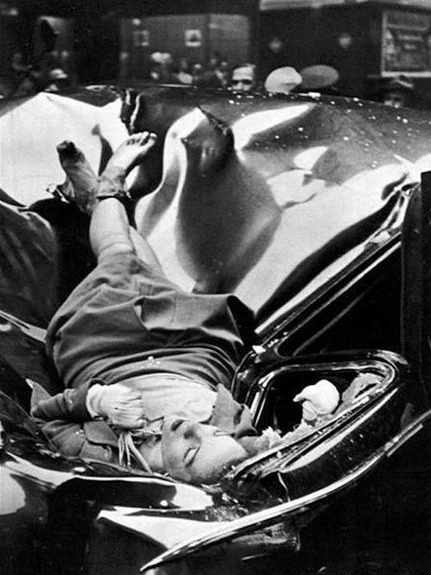 """""""Piękne samobójstwo"""". 23-letnia Evelyn McHale skoczyła z 83. piętrze Empire State Building i wylądowała na dachu limuzyny ONZ, 1947 (fot. boredpanda.com)"""