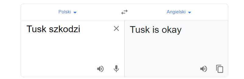 "Tłumacz Google i fraza ""Tusk szkodzi"""