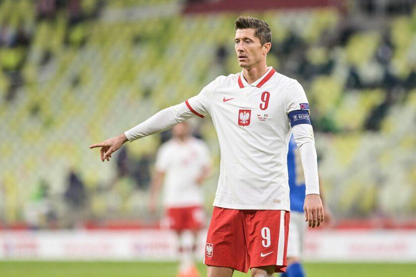 Robert Lewandowski w meczu z Włochami