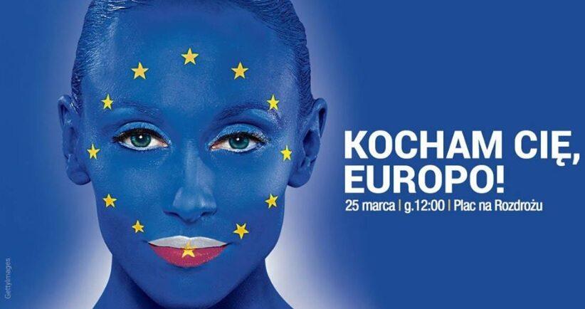 Grafika promująca marsz Kocham Cię, Europo!
